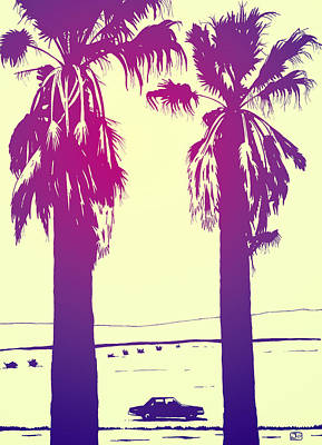 Los Drawing - Palms by Giuseppe Cristiano