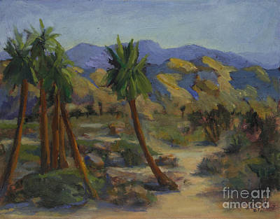 Desert Scape Painting - Palms In Abstract by Maria Hunt
