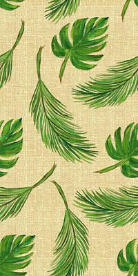 Linen Wall Art - Painting - Palms On Linen Pattern by Julie Derice