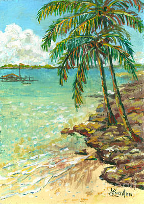 Palms On Point Of Rocks Art Print