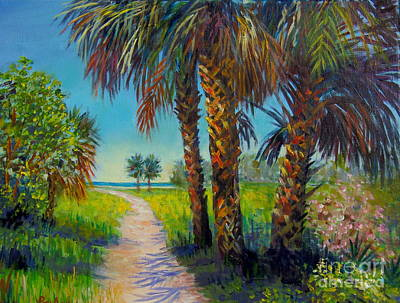 Painting - Palms On Siesta Key Path by Lou Ann Bagnall
