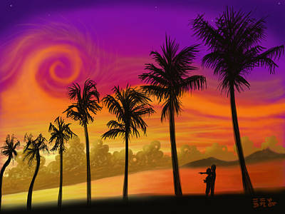 Painting - Palms Over St. Croix by EBENLO Artist
