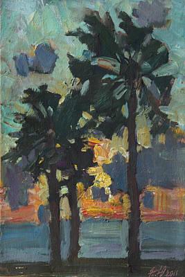 Painting - Palms Sea And Sunset by Juliya Zhukova