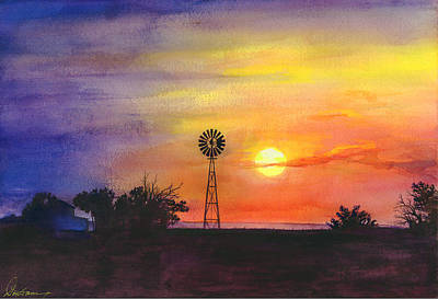 Windmills Painting - Palo Duro Sunset by Don Dane