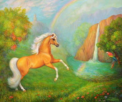 Palomino Painting - Palomino By A Waterfall by Marilyn Shanto Stubbs