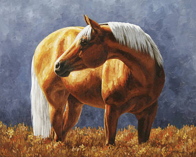 Animals Paintings - Palomino Horse - Gold Horse Meadow by Crista Forest