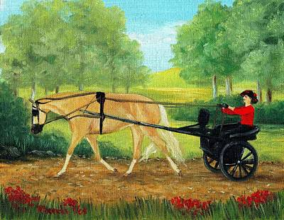 Palomino Horse Pleasure Driving Art Print by Olde Time  Mercantile