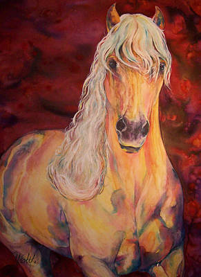Art Print featuring the painting Palomino Ruby  by Christy  Freeman