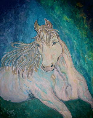 Art Print featuring the painting Palomino Thunder by Ella Kaye Dickey
