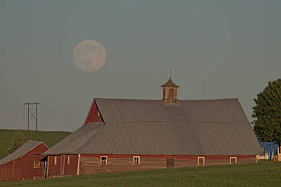White Barn Photograph - Palouse Solstice Moon by Latah Trail Foundation