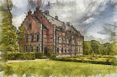 Historic Home Drawing - Palsjo Slott Sketch by Antony McAulay