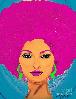 Painting - Pam Grier Bold Diva C1979 Pop Art by Saundra Myles