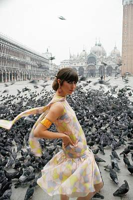 Pigeon Photograph - Pamela Barkentin In The Piazza San Marco by George Barkentin
