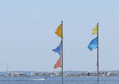 Pamlico Flags Flying Art Print by Cathy Lindsey