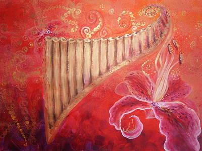 Pan Pipes Painting - Pan-pipe Song by Alina Barbuceanu