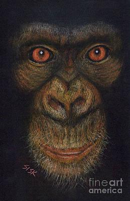 Ape. Great Ape Painting - Pan Troglodytes by Rebekah Sisk