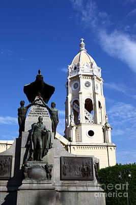 Panama City Bolivar Monument And San Francisco Church Art Print