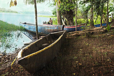 Photograph - Panama Embera Native In His Dugout Canoe by Greg Kluempers