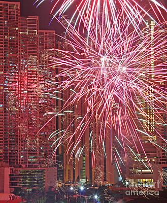 Panama Fireworks Art Print by Bob Hislop