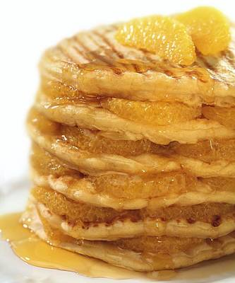 Pancakes With Oranges And Syrup Art Print by Science Photo Library
