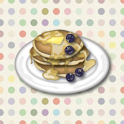 Blueberry Digital Art - Pancakes With Syrup And Blueberries by Ym Chin