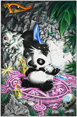 Salamanders Drawing - Panda 3 by David Vieyra