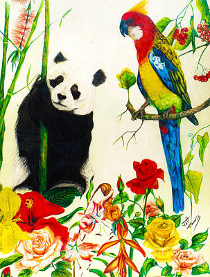Drawing - Panda And Parrot by Jott DH