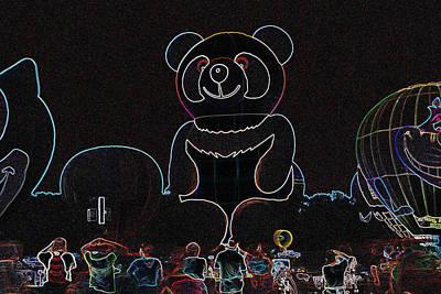 Panda Balloon In Neon Art Print