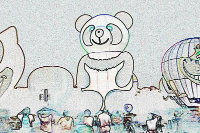 Panda Balloon Sketch Art Print