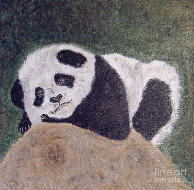 Panda Cub Wall Art - Painting - Panda Bear Sleepy Baby Cub by Ella Kaye Dickey