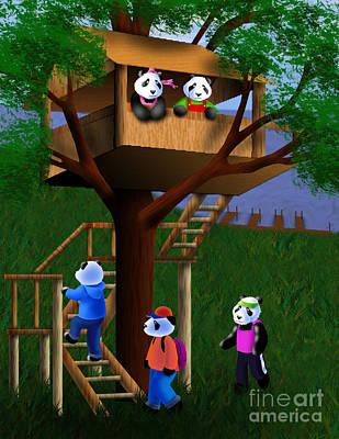 Jeanette Kabat Drawing - Panda Bear Tree House by Jeanette K