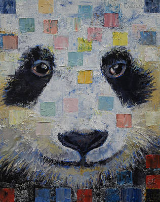 Impasto Oil Painting - Panda Checkers by Michael Creese