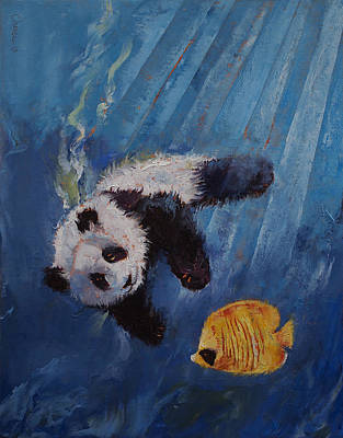Panda Diver Art Print by Michael Creese