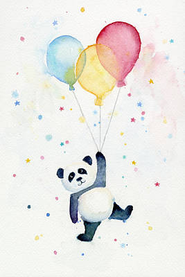 Balloons Painting - Panda Floating With Balloons by Olga Shvartsur
