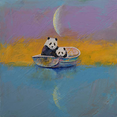 Panda Cub Wall Art - Painting - Panda Lake by Michael Creese