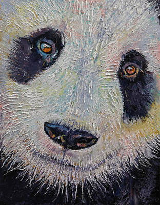 Mike Painting - Panda Portrait by Michael Creese
