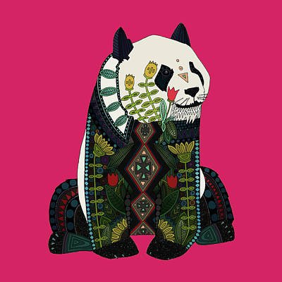 Panda Ochre Art Print by Sharon Turner