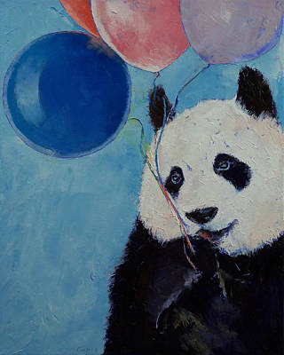 Balloons Painting - Panda Party by Michael Creese