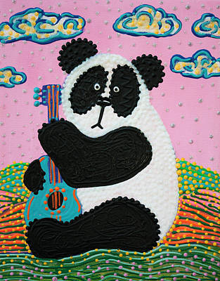 Panda Bear Painting - Panda Song by Laura Barbosa