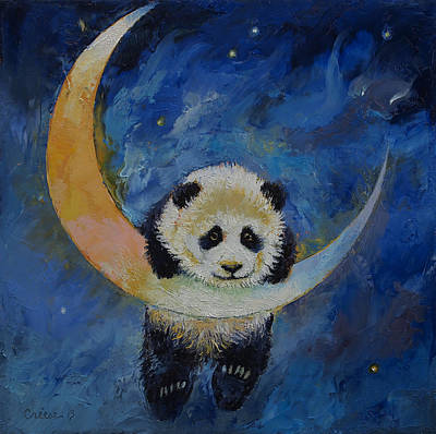 Panda Bear Painting - Panda Stars by Michael Creese