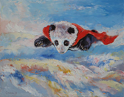 Panda Superhero Art Print by Michael Creese