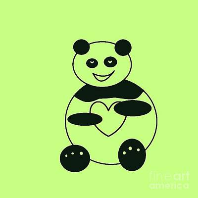 Digital Art - Panda With A Big Heart 001 by Ausra Huntington nee Paulauskaite