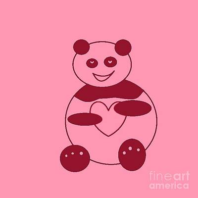 Photograph - Panda With A Big Heart In Pink 01 by Ausra Huntington nee Paulauskaite
