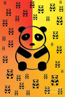 Colorful Art Digital Art - Pandas by Gaspar Avila