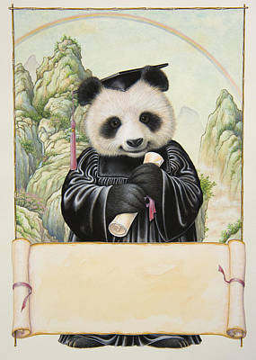 Diploma Painting - Panda's Graduation by Lynn Bywaters
