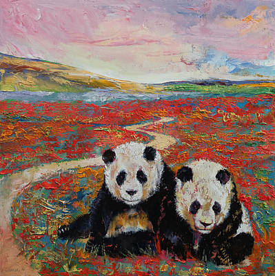 Poppies Field Painting - Panda Paradise by Michael Creese