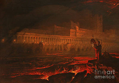 Fiery Red Painting - Pandemonium by John Martin