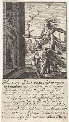 Hermes Wall Art - Drawing - Pandora And Epimetheus, Print Maker Pieter Serwouters by Pieter Serwouters