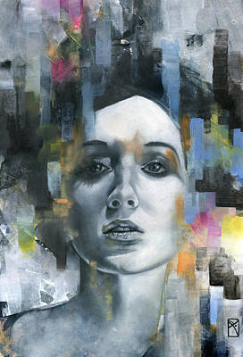 Abstract Portrait Painting - Pandora by Patricia Ariel