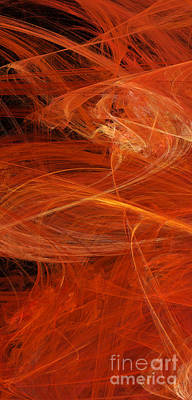Mixed Media - Panel 1 Of 5 Dancing Flames 2 H Pentaptych - Abstract - Fractal Art by Andee Design
